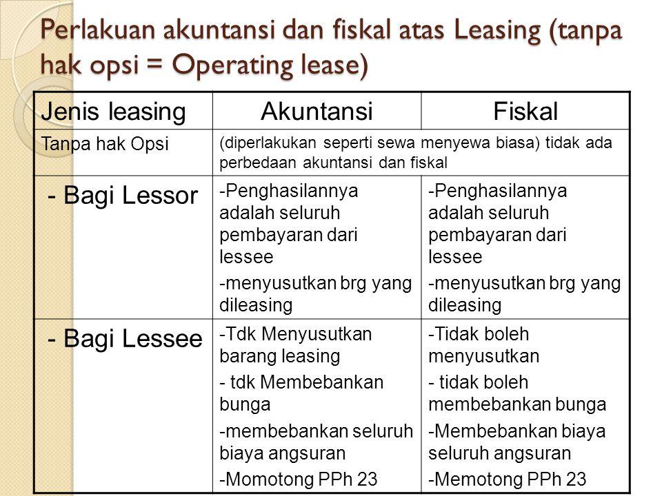 Perlakuan akuntansi dan fiskal atas Leasing (tanpa hak opsi = Operating lease)