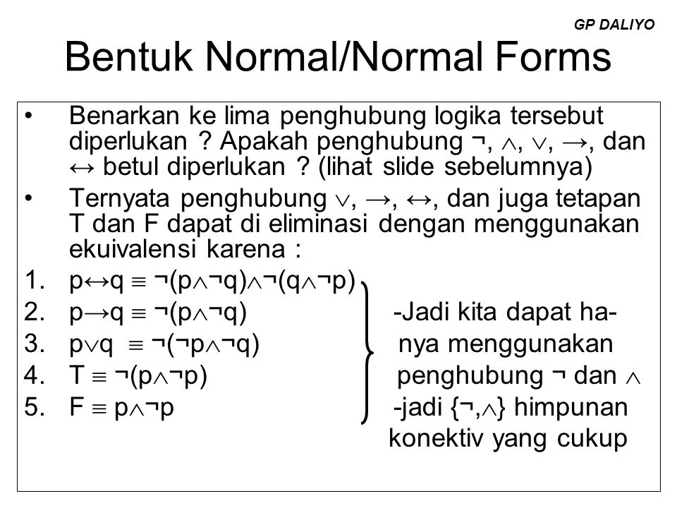 Bentuk Normal/Normal Forms