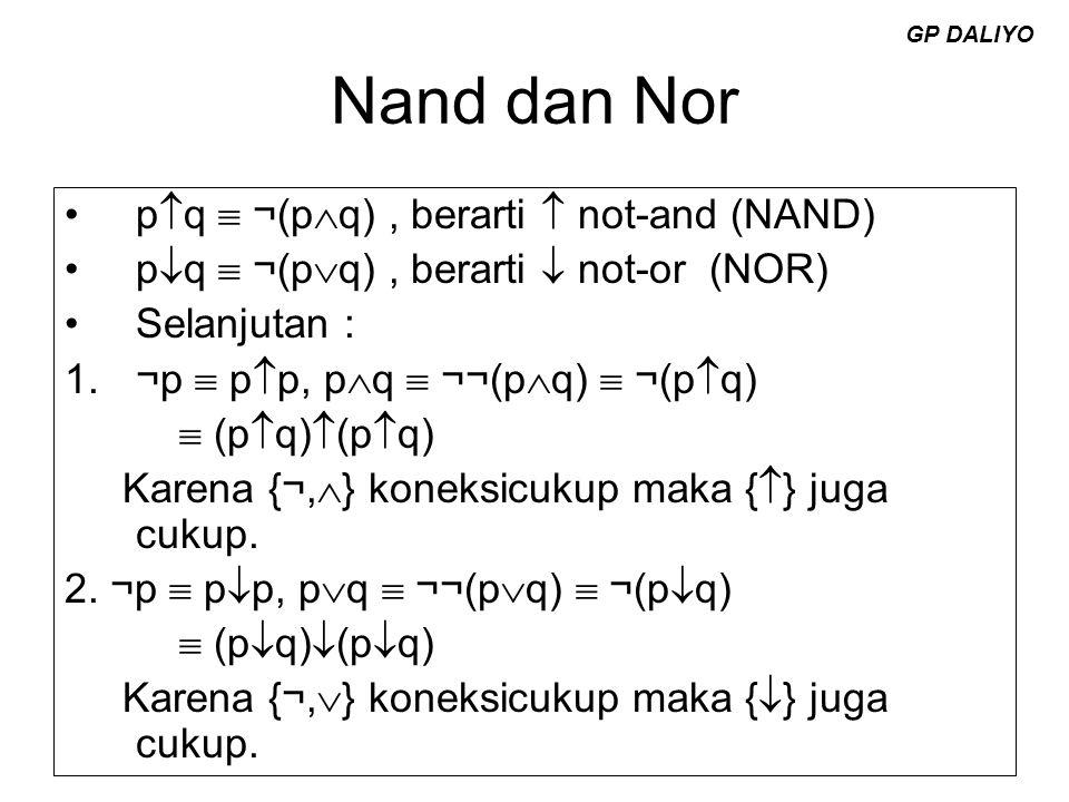 Nand dan Nor pq  ¬(pq) , berarti  not-and (NAND)