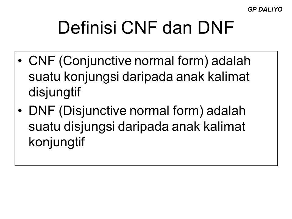 GP DALIYO Definisi CNF dan DNF. CNF (Conjunctive normal form) adalah suatu konjungsi daripada anak kalimat disjungtif.
