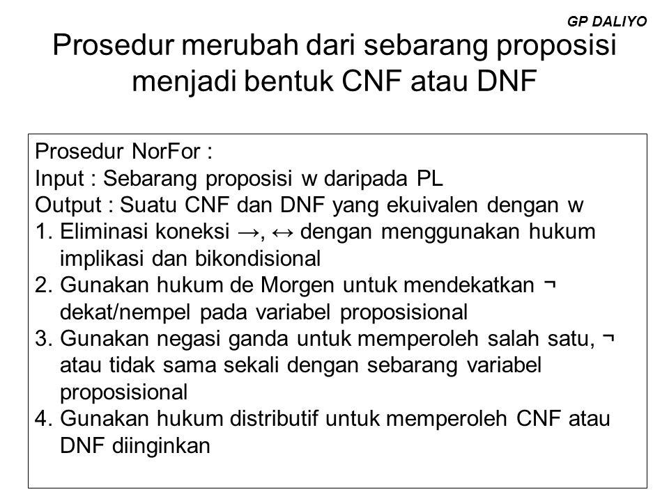 Prosedur merubah dari sebarang proposisi menjadi bentuk CNF atau DNF