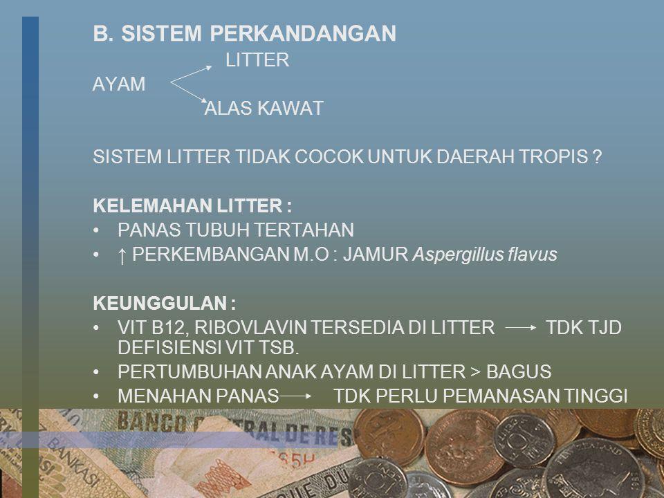 B. SISTEM PERKANDANGAN LITTER AYAM ALAS KAWAT