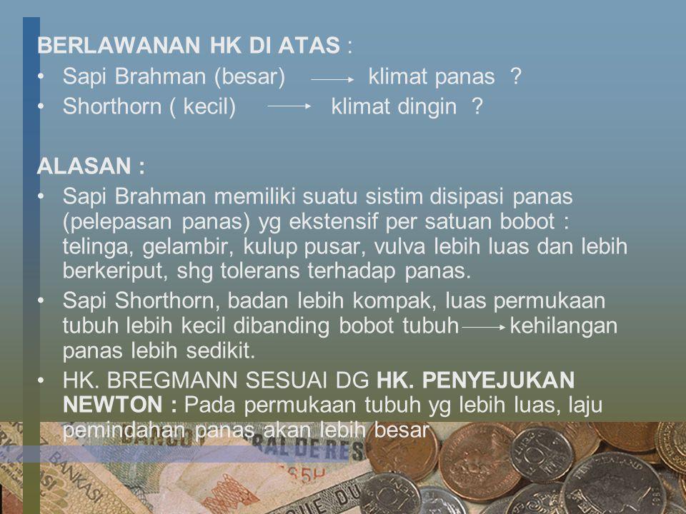 BERLAWANAN HK DI ATAS : Sapi Brahman (besar) klimat panas Shorthorn ( kecil) klimat dingin