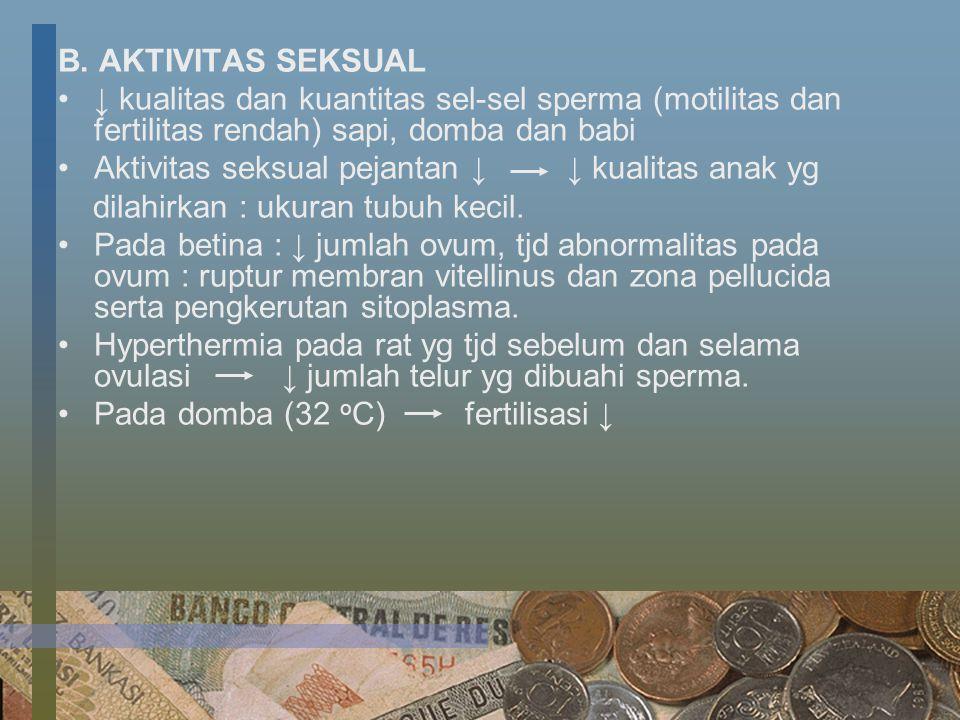 B. AKTIVITAS SEKSUAL ↓ kualitas dan kuantitas sel-sel sperma (motilitas dan fertilitas rendah) sapi, domba dan babi.