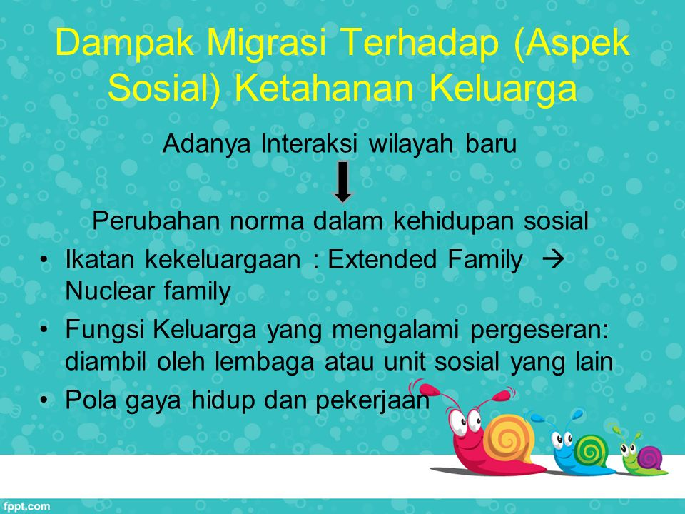 Dampak Migrasi Terhadap (Aspek Sosial) Ketahanan Keluarga