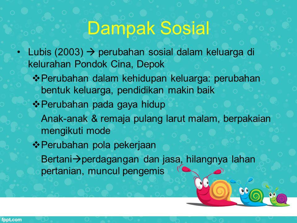 Dampak Sosial Lubis (2003)  perubahan sosial dalam keluarga di kelurahan Pondok Cina, Depok.