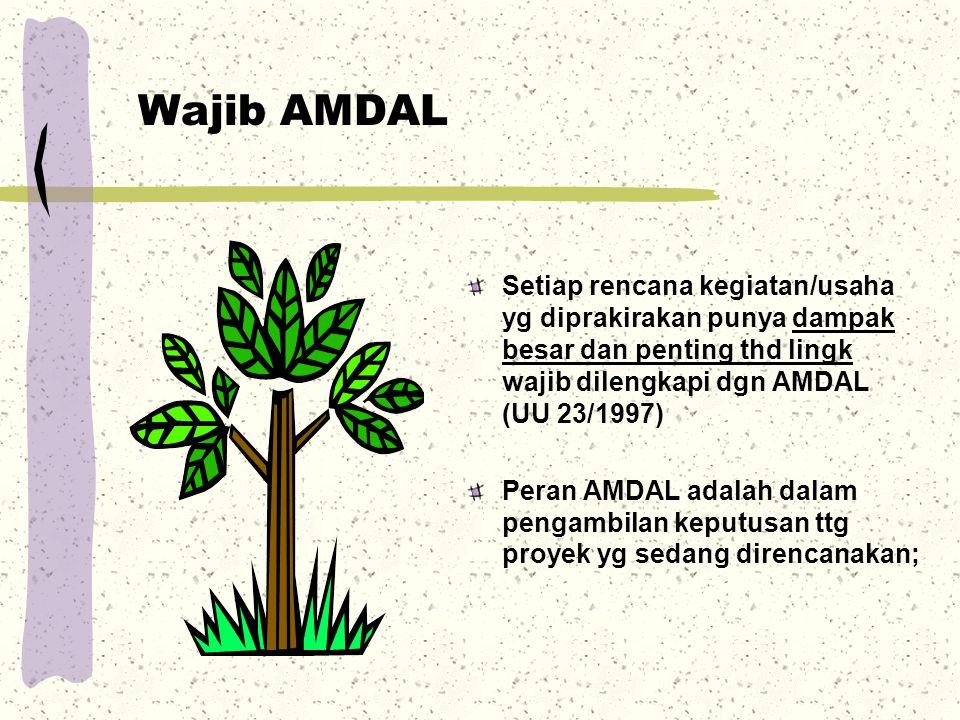 Wajib AMDAL Setiap rencana kegiatan/usaha yg diprakirakan punya dampak besar dan penting thd lingk wajib dilengkapi dgn AMDAL (UU 23/1997)
