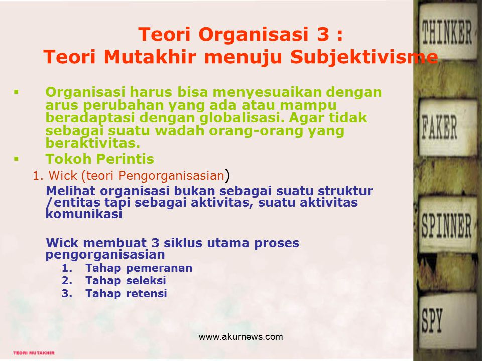 Teori Organisasi 3 : Teori Mutakhir menuju Subjektivisme