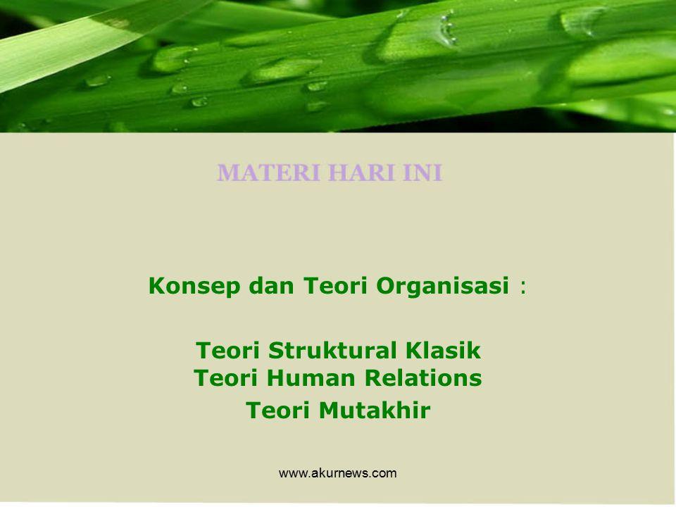 Teori Struktural Klasik Teori Human Relations