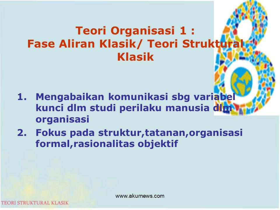 Teori Organisasi 1 : Fase Aliran Klasik/ Teori Struktural Klasik