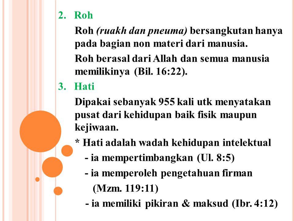 2. Roh Roh (ruakh dan pneuma) bersangkutan hanya pada bagian non materi dari manusia.