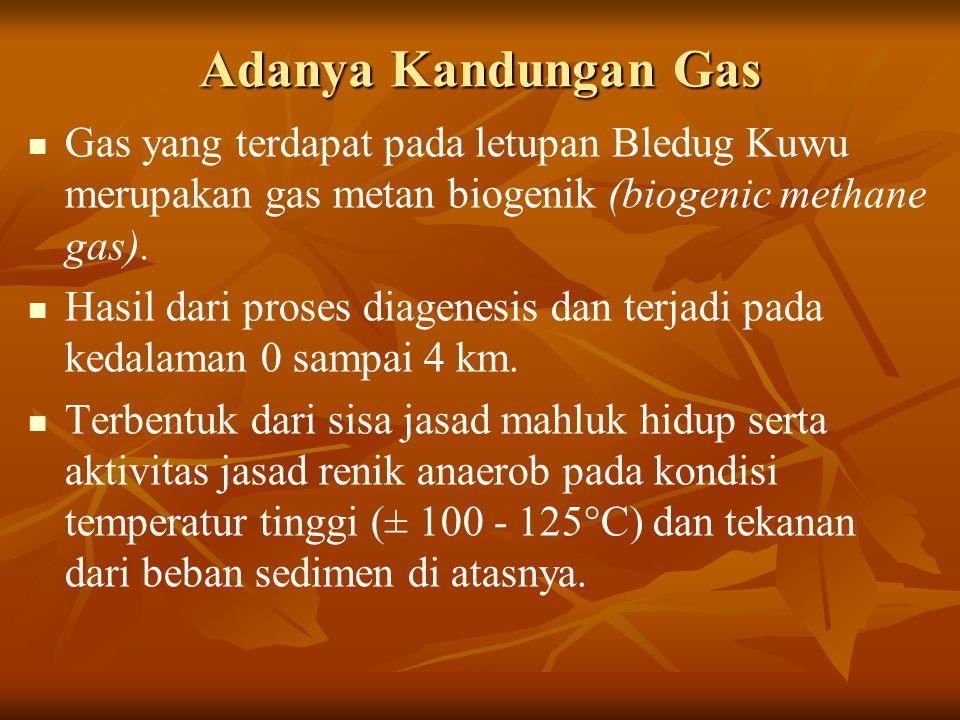 Adanya Kandungan Gas Gas yang terdapat pada letupan Bledug Kuwu merupakan gas metan biogenik (biogenic methane gas).