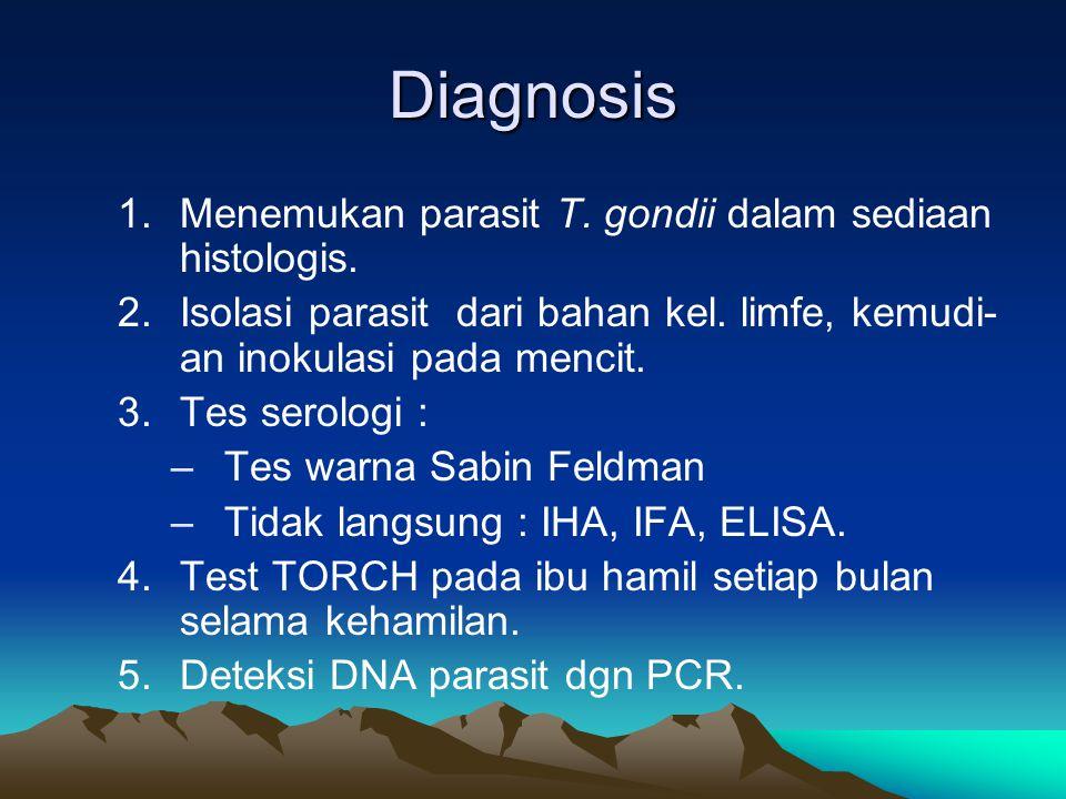 Diagnosis Menemukan parasit T. gondii dalam sediaan histologis.