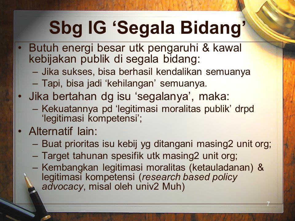 Sbg IG 'Segala Bidang' Butuh energi besar utk pengaruhi & kawal kebijakan publik di segala bidang: Jika sukses, bisa berhasil kendalikan semuanya.