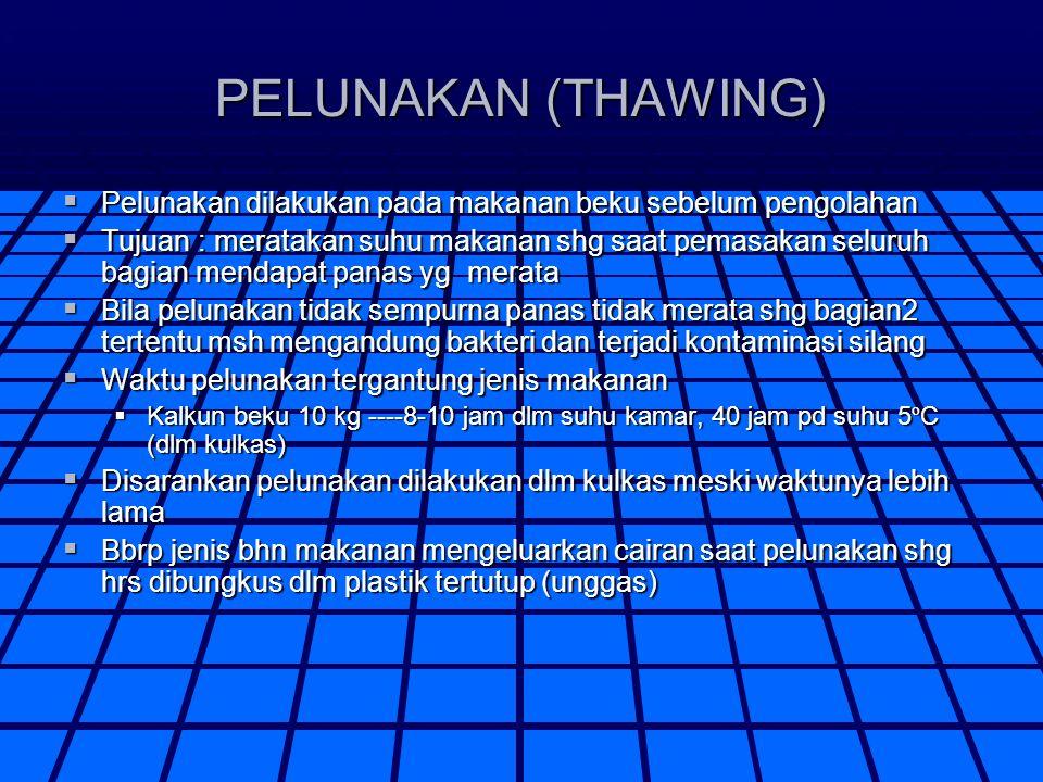 PELUNAKAN (THAWING) Pelunakan dilakukan pada makanan beku sebelum pengolahan.