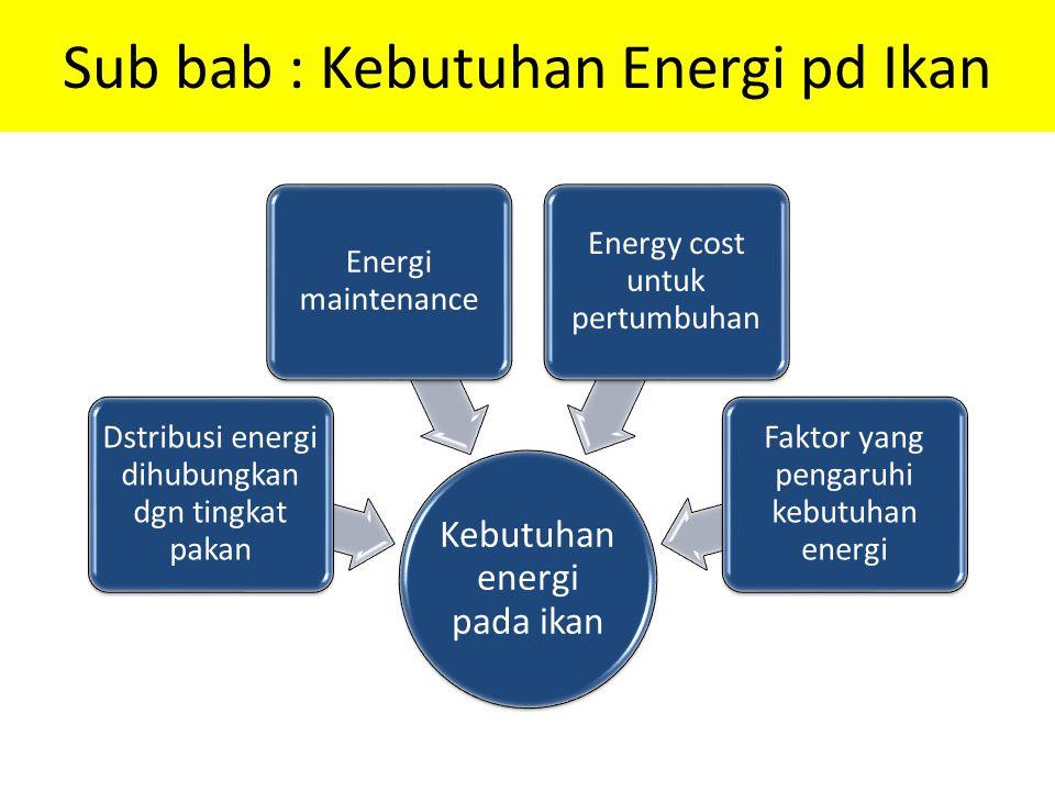 Sub bab : Kebutuhan Energi pd Ikan