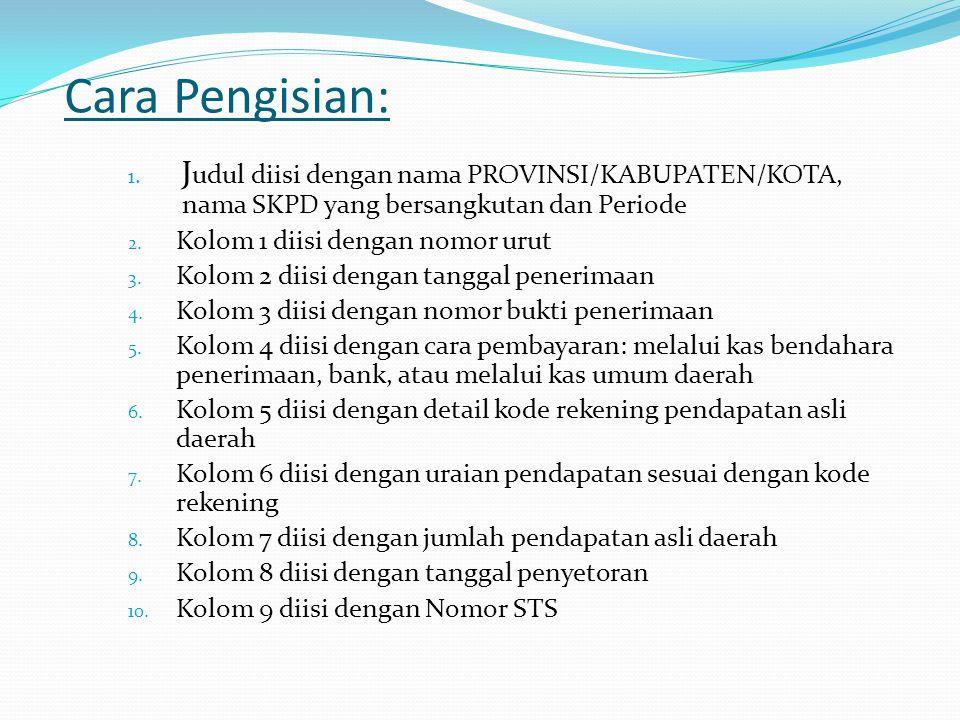 Cara Pengisian: Judul diisi dengan nama PROVINSI/KABUPATEN/KOTA, nama SKPD yang bersangkutan dan Periode.