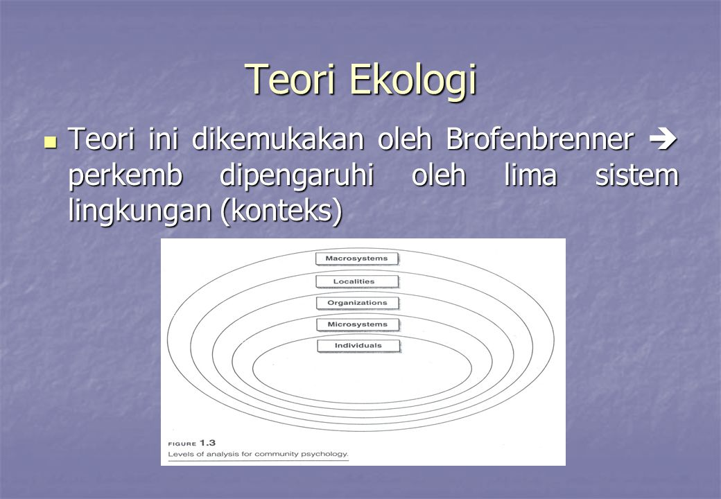 Teori Ekologi Teori ini dikemukakan oleh Brofenbrenner  perkemb dipengaruhi oleh lima sistem lingkungan (konteks)