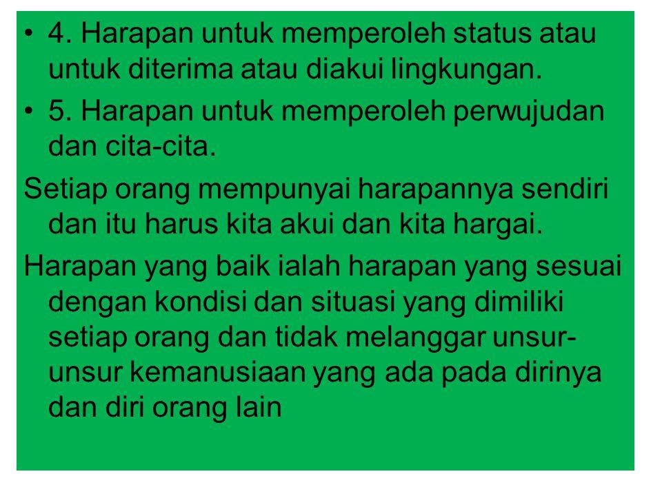 4. Harapan untuk memperoleh status atau untuk diterima atau diakui lingkungan.