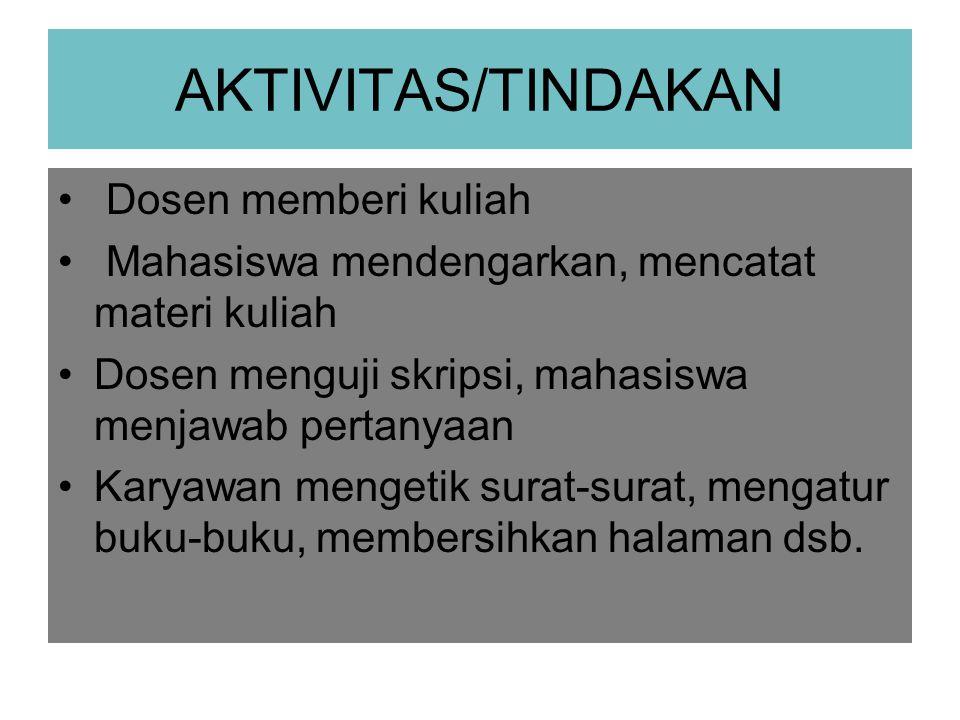 AKTIVITAS/TINDAKAN Dosen memberi kuliah