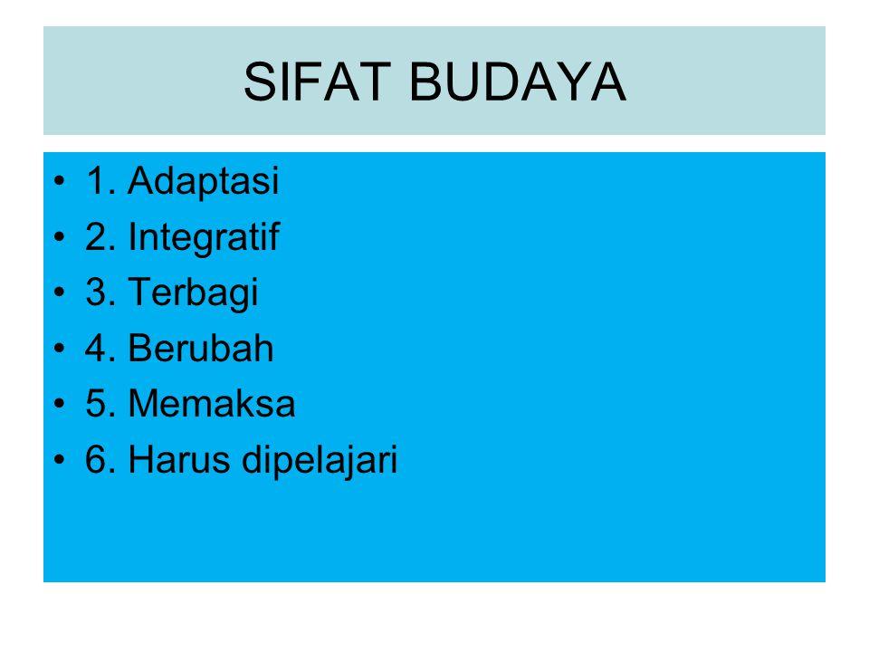 SIFAT BUDAYA 1. Adaptasi 2. Integratif 3. Terbagi 4. Berubah