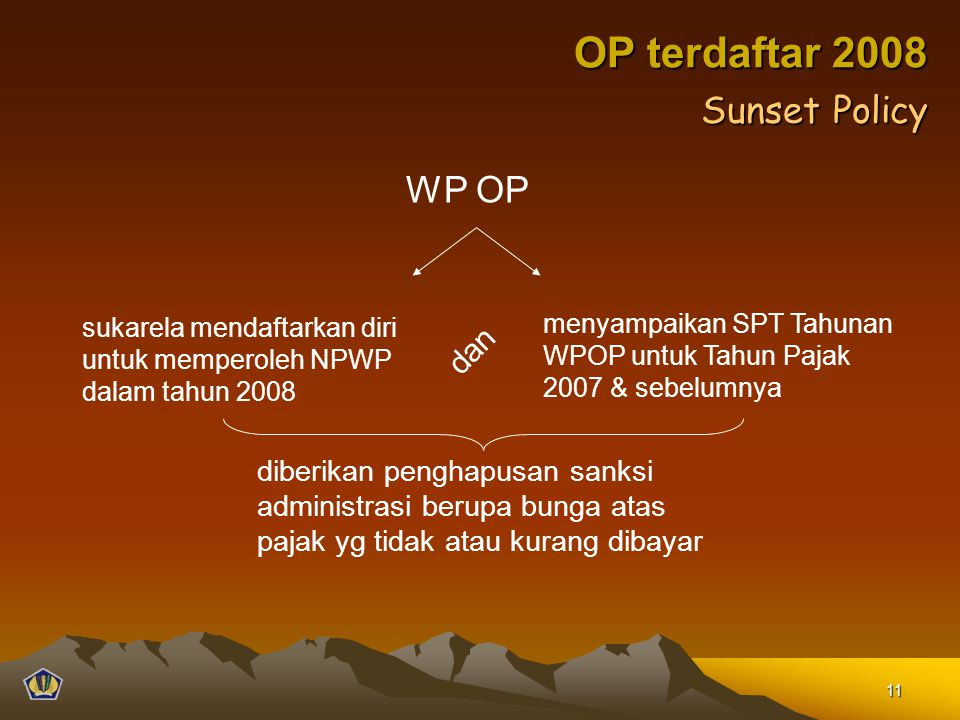 OP terdaftar 2008 Sunset Policy WP OP dan