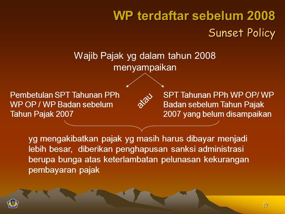 Wajib Pajak yg dalam tahun 2008 menyampaikan