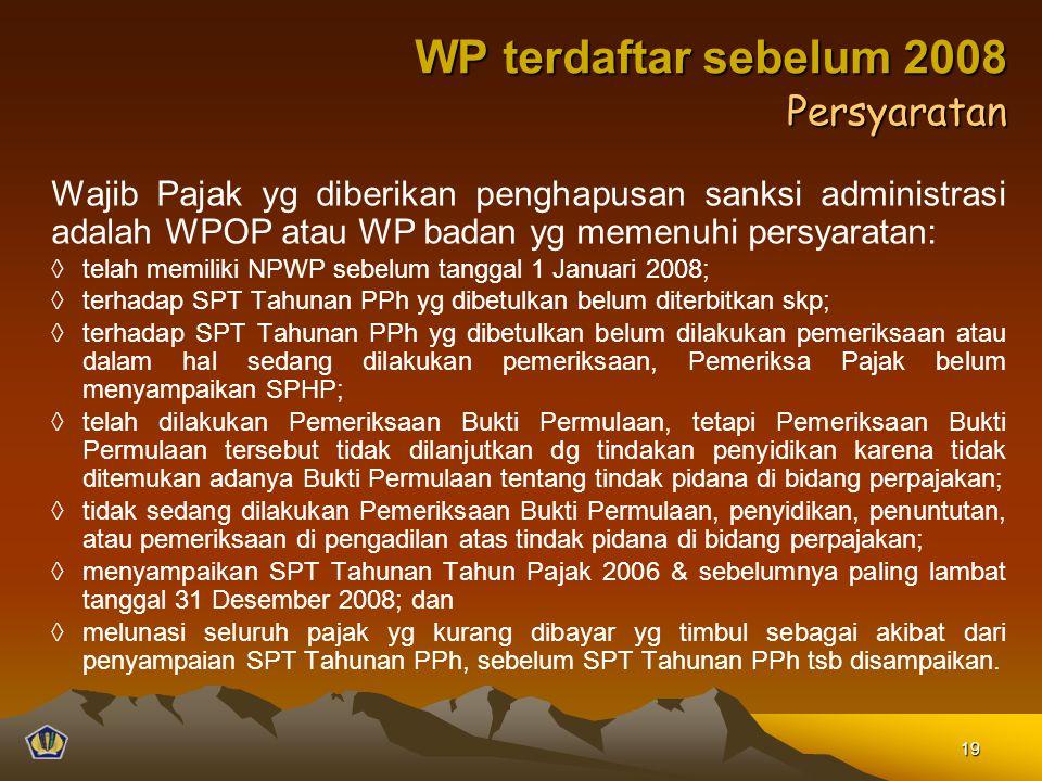 WP terdaftar sebelum 2008 Persyaratan
