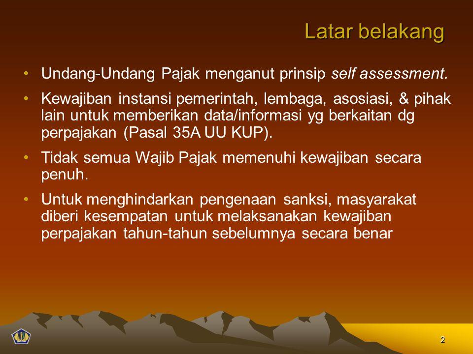Latar belakang Undang-Undang Pajak menganut prinsip self assessment.