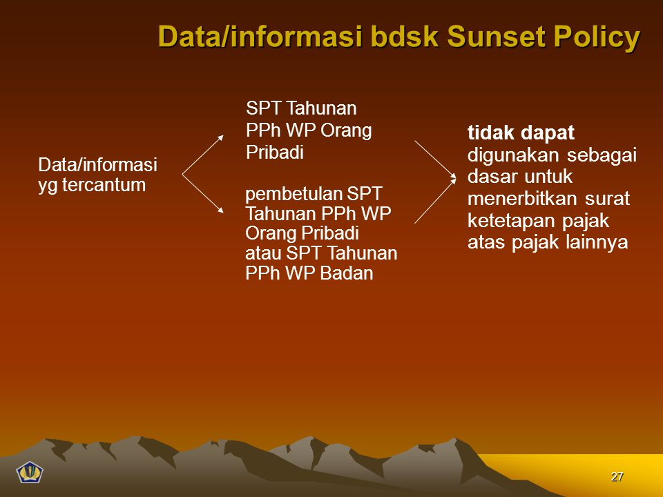 Data/informasi bdsk Sunset Policy