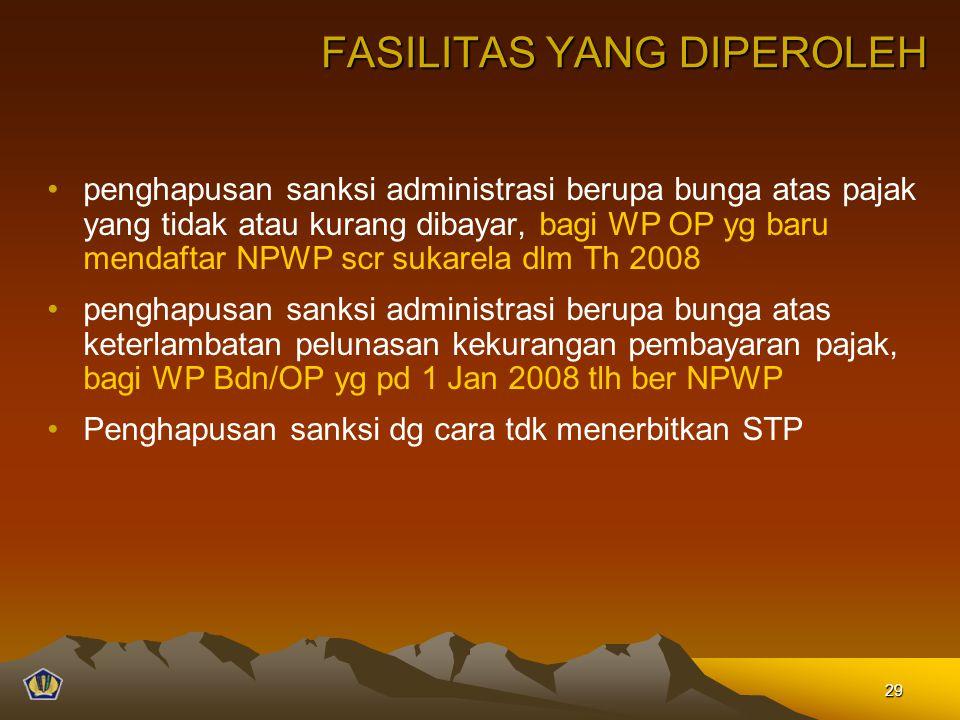 FASILITAS YANG DIPEROLEH