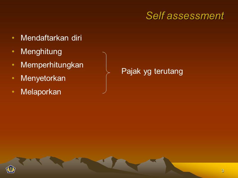 Self assessment Mendaftarkan diri Menghitung Memperhitungkan