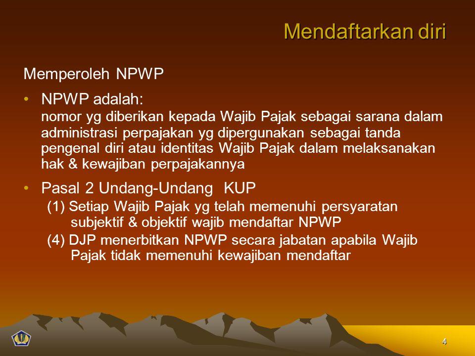 Mendaftarkan diri Memperoleh NPWP NPWP adalah: