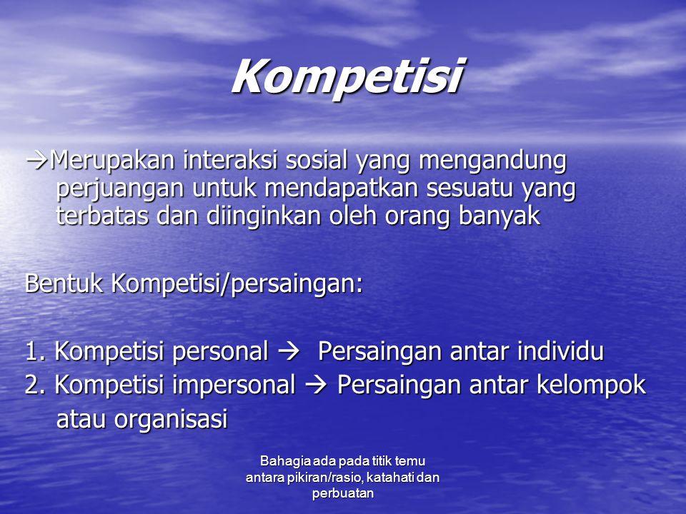 Kompetisi Merupakan interaksi sosial yang mengandung perjuangan untuk mendapatkan sesuatu yang terbatas dan diinginkan oleh orang banyak.