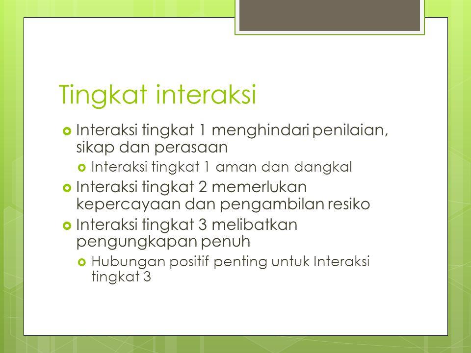 Tingkat interaksi Interaksi tingkat 1 menghindari penilaian, sikap dan perasaan. Interaksi tingkat 1 aman dan dangkal.