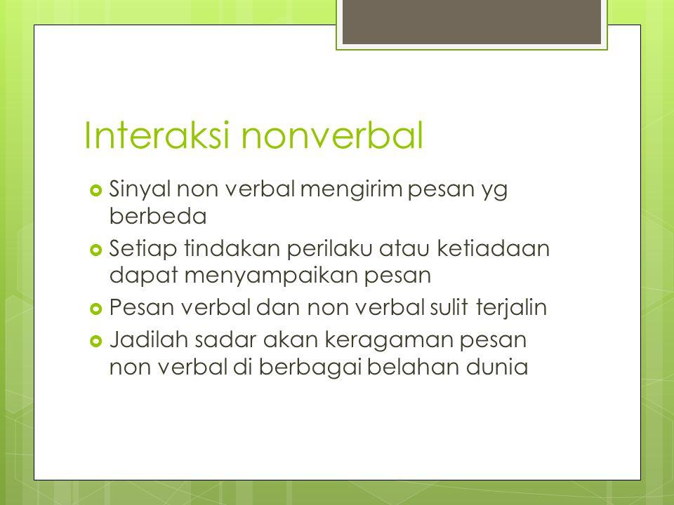 Interaksi nonverbal Sinyal non verbal mengirim pesan yg berbeda