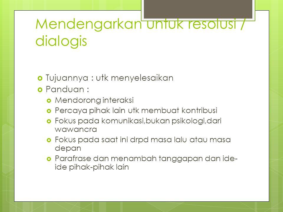 Mendengarkan untuk resolusi / dialogis