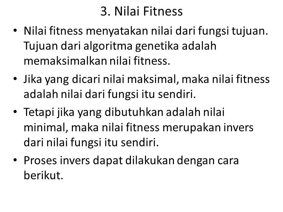 3. Nilai Fitness Nilai fitness menyatakan nilai dari fungsi tujuan. Tujuan dari algoritma genetika adalah memaksimalkan nilai fitness.