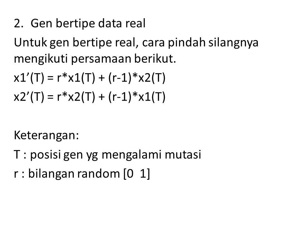 Gen bertipe data real Untuk gen bertipe real, cara pindah silangnya mengikuti persamaan berikut. x1'(T) = r*x1(T) + (r-1)*x2(T)