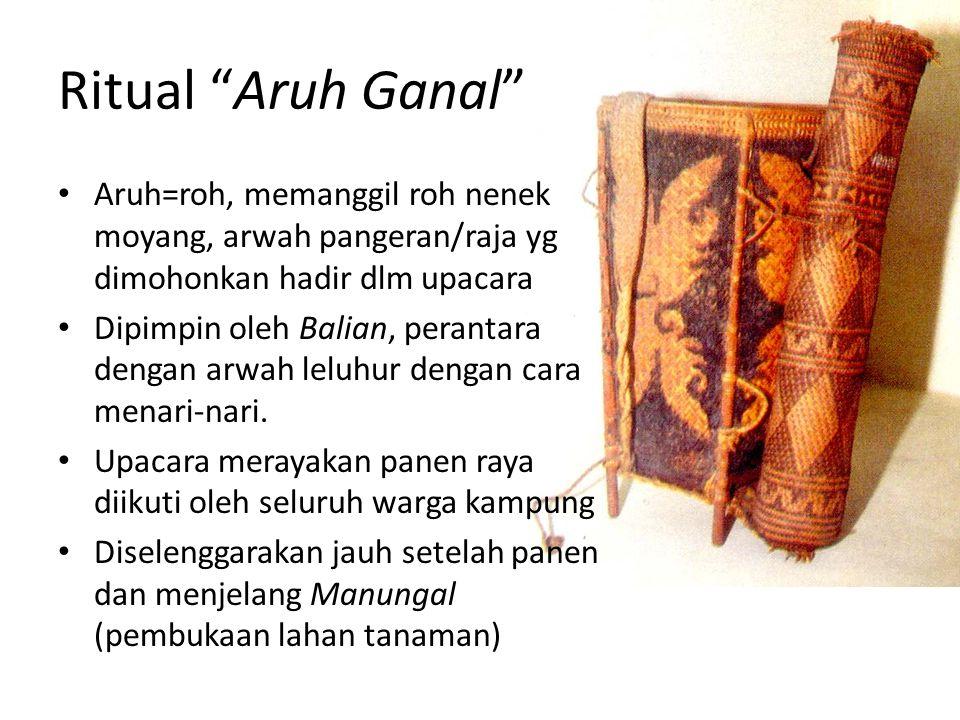 Ritual Aruh Ganal Aruh=roh, memanggil roh nenek moyang, arwah pangeran/raja yg dimohonkan hadir dlm upacara.