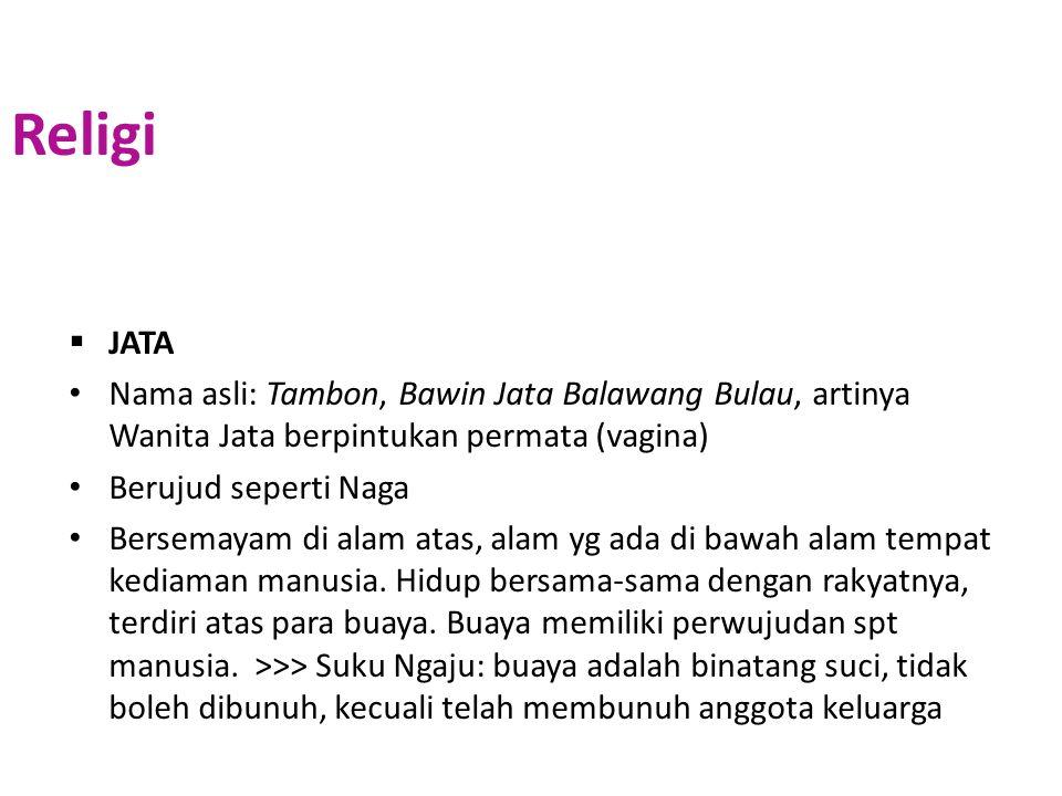 Religi JATA. Nama asli: Tambon, Bawin Jata Balawang Bulau, artinya Wanita Jata berpintukan permata (vagina)