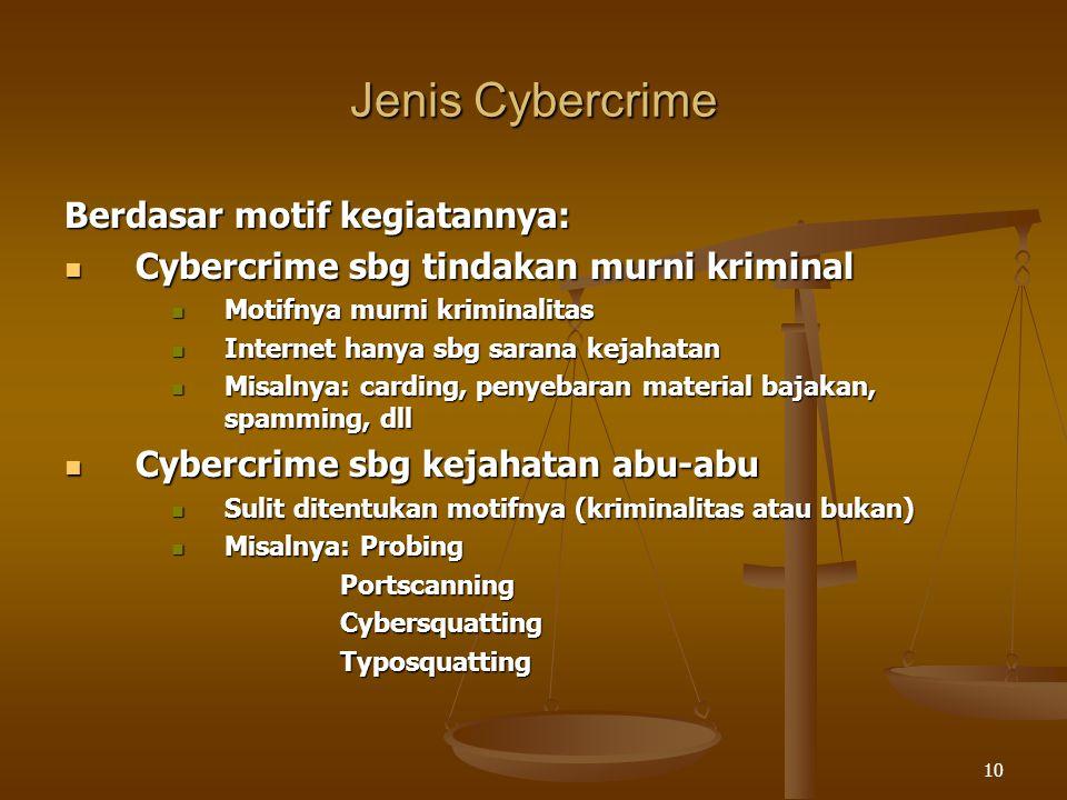 Jenis Cybercrime Berdasar motif kegiatannya: