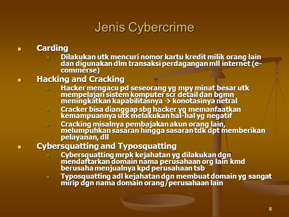 Jenis Cybercrime Carding Hacking and Cracking
