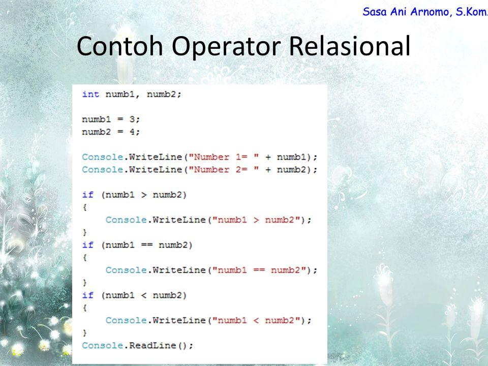Contoh Operator Relasional
