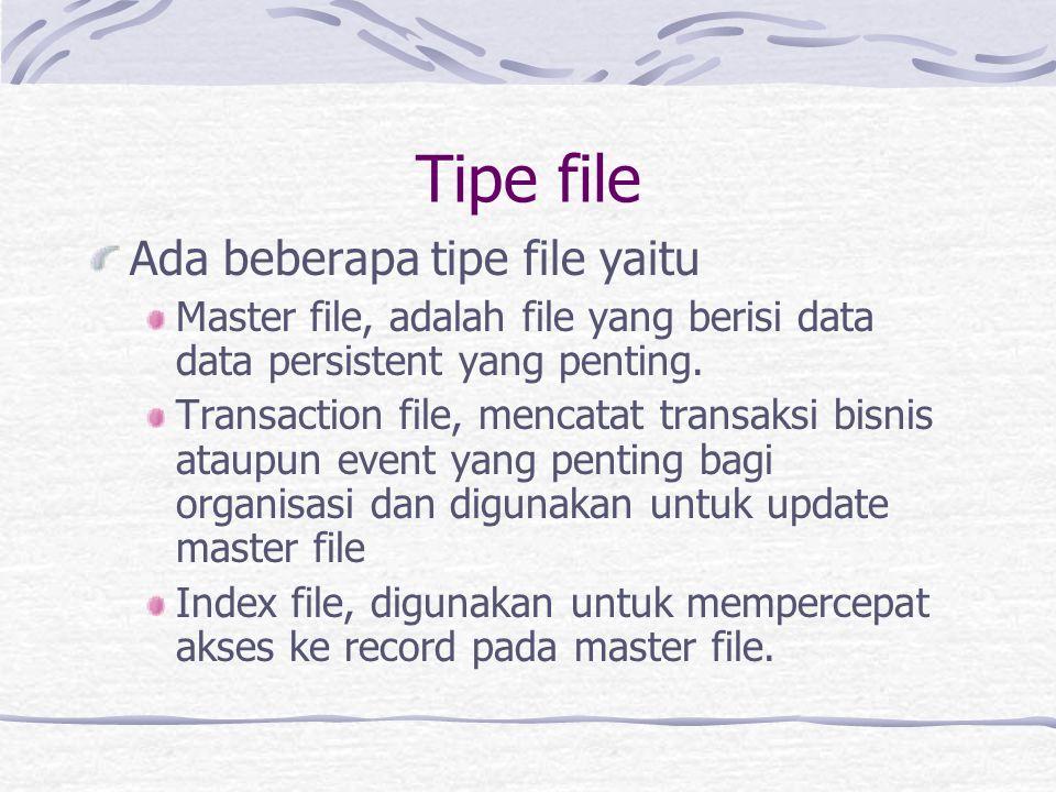 Tipe file Ada beberapa tipe file yaitu