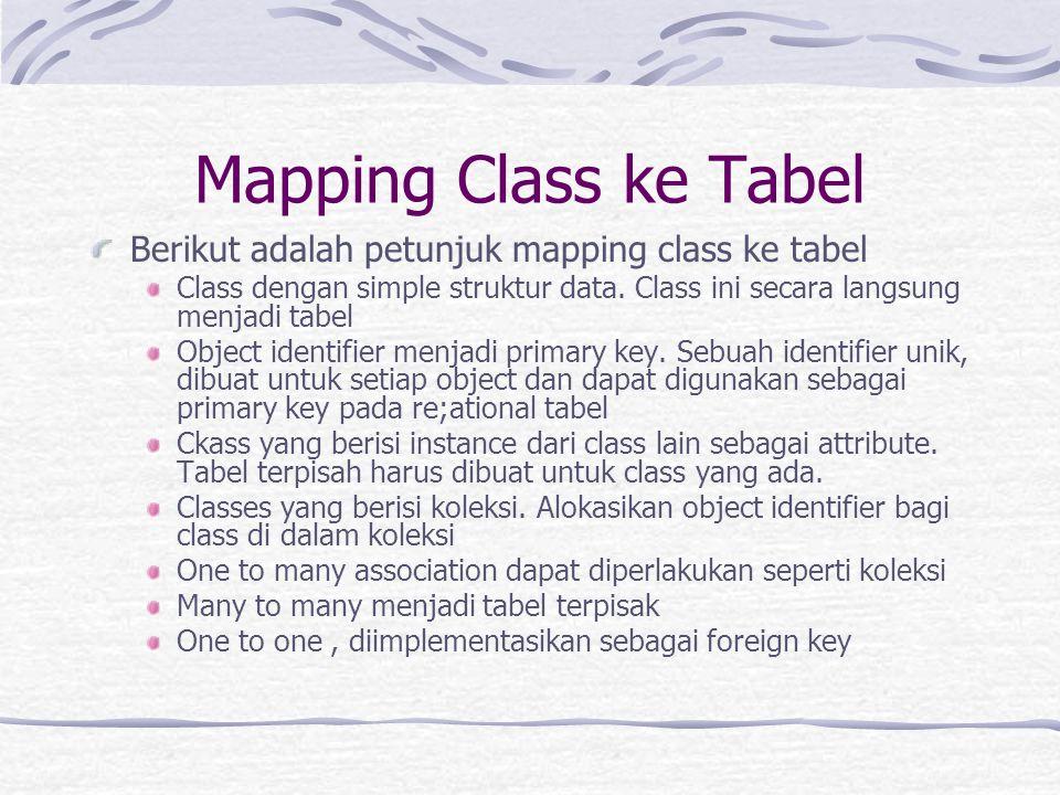 Mapping Class ke Tabel Berikut adalah petunjuk mapping class ke tabel