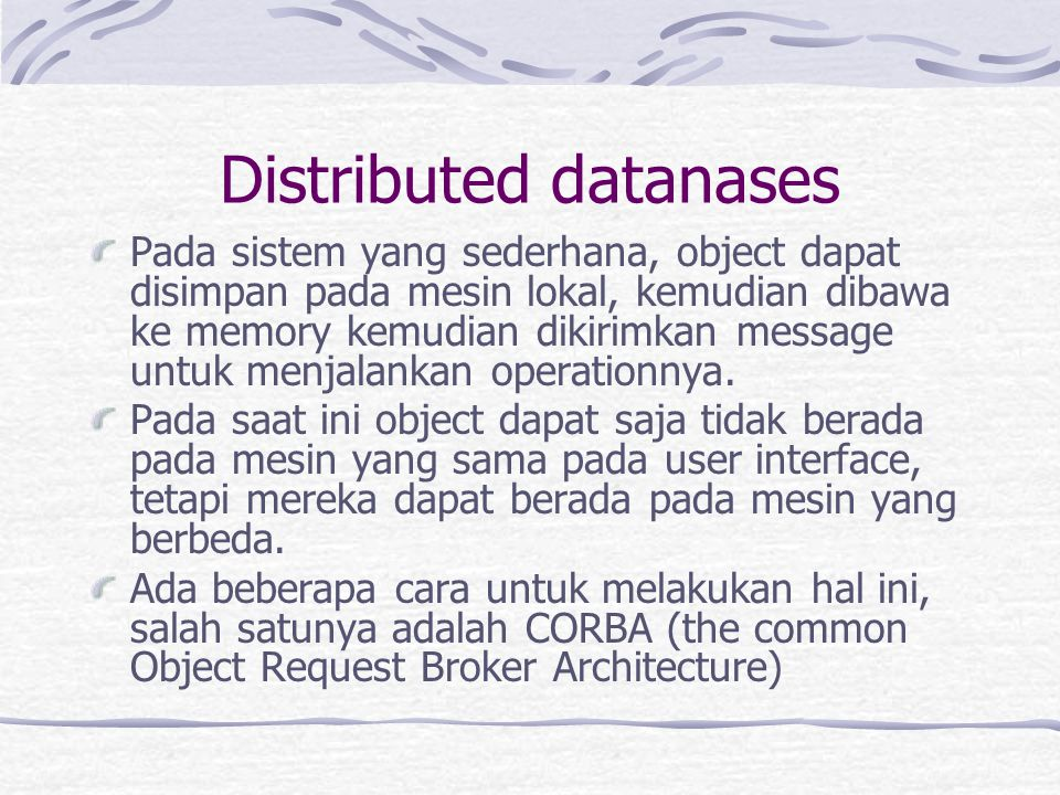 Distributed datanases
