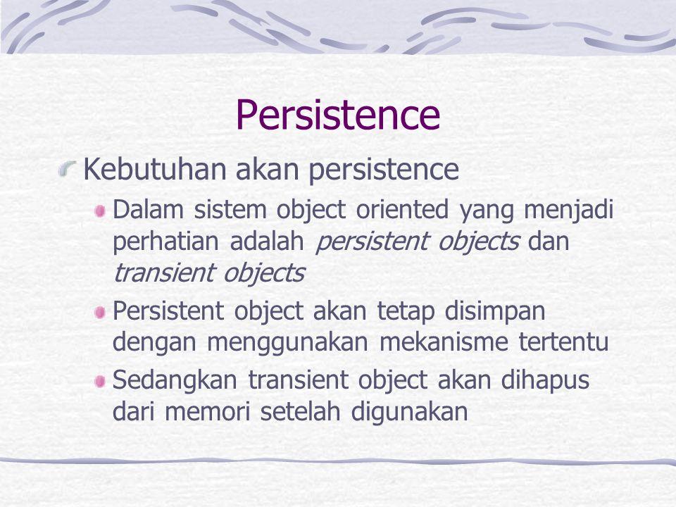Persistence Kebutuhan akan persistence