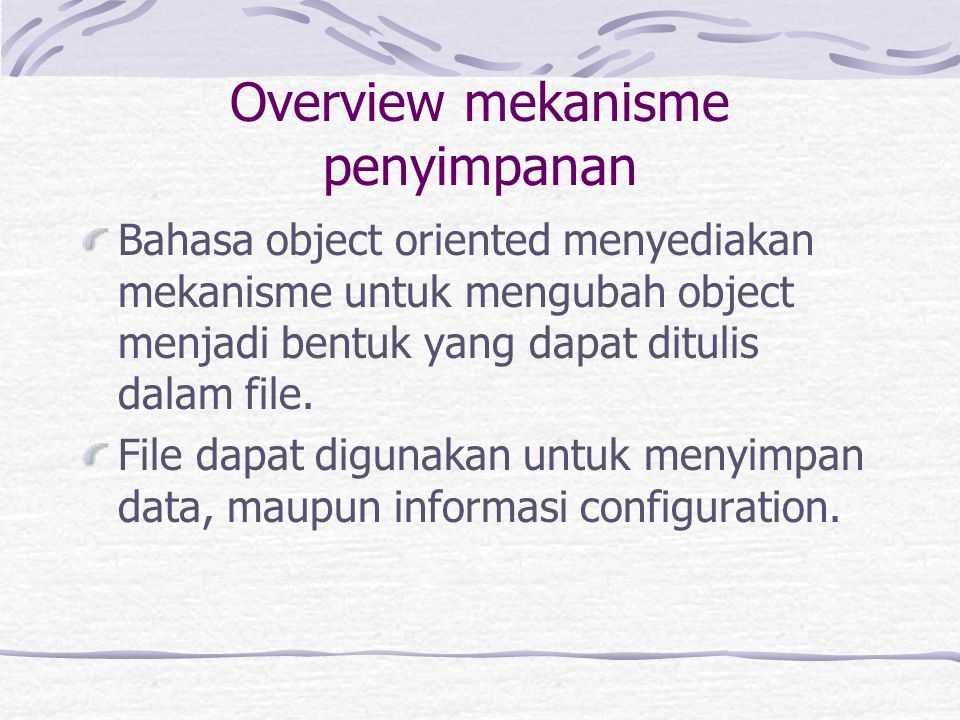 Overview mekanisme penyimpanan