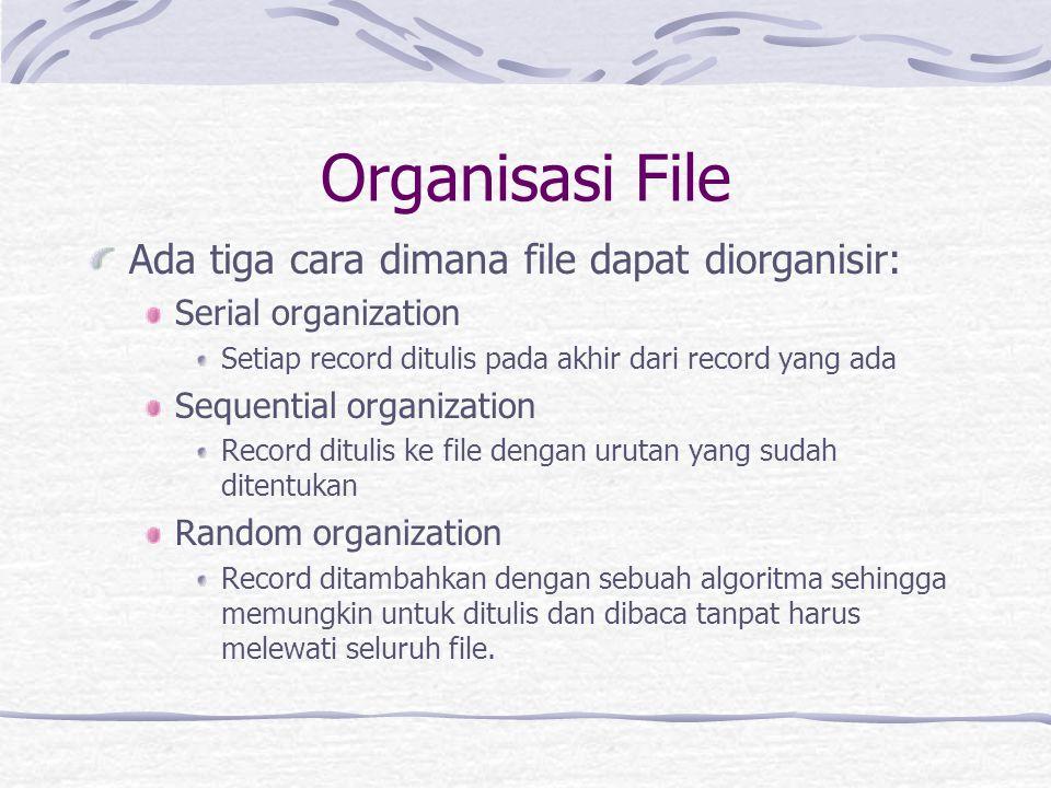 Organisasi File Ada tiga cara dimana file dapat diorganisir: